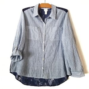 Chico's mixed prints long sleeve button up blouse